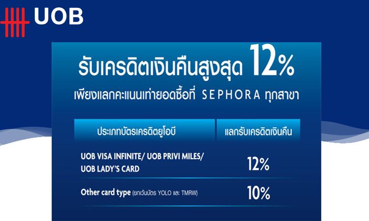 รับเงินคืนสูงสุด 12% จากบัตร UOB ที่ร้าน SEPHORA ทุกสาขา 1